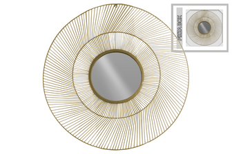 UTC31003 Metal Round Wall Mirror with Sunburst Design Frame Metallic Finish Gold