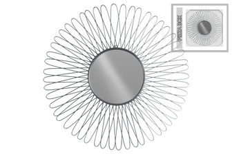 UTC31004 Metal Round Wall Mirror with Petal Design Frame Metallic Finish Silver