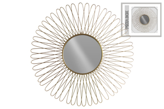 UTC31005 Metal Round Wall Mirror with Box and Petal Design Frame Metallic Finish Gold