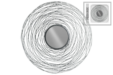UTC31010 Metal Round Wall Mirror with Spiral Lines Design Frame Metallic Finish Gunmetal Gray