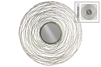 UTC31011 Metal Round Wall Mirror with Spiral Lines Design Frame Metallic Finish Gold