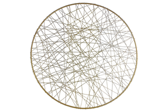 UTC31013 Metal Round Wall Art with Abstract Lines Design LG Metallic Finish Gold
