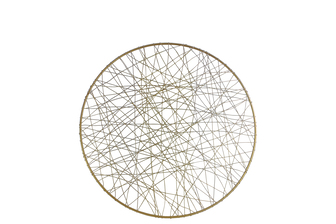 UTC31015 Metal Round Wall Art with Abstract Lines Design SM Metallic Finish Gold