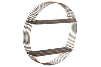 UTC31017 Metal Round Wall Shelf with 2 Wooden Tier Metallic Finish Gold