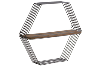 UTC31018 Metal Hexagonal Wall Shelf with 1 Wooden Tier Metallic Finish Gunmetal Gray