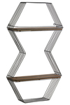 UTC31019 Metal Double Hexagon Wall Shelf with 2 Wooden Tier Metallic Finish Gunmetal Gray