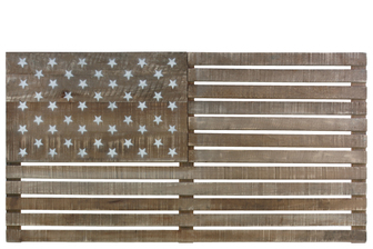 UTC31021 Wood Rectangle American Flag Wall Sculpture with Painted Stars Natural Wood Finish Tan