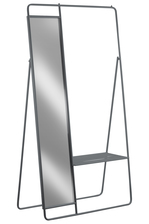UTC31041 Metal Clothes Rack with Mirror and Pants Rack Metallic Finish Gray