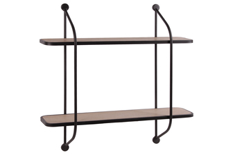 UTC31044 Metal Rectangular Wall Shelf with 2 Wooden Surface Tier Coated Finish Black