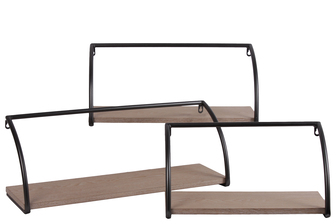 UTC31045 Metal Rectangular Wall Shelf with Wooden Surface Set of Three Coated Finish Black