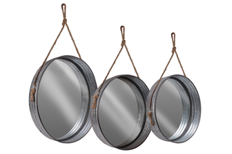 UTC31047 Metal Round Wall Mirror with Rope Hanger and Wood Backboard Set of Three Galvanized Finish Gray