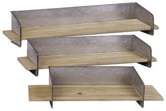UTC31048 Wood Rectangular Wall Shelf with Metal Backing Set of Three Natural Finish Brown