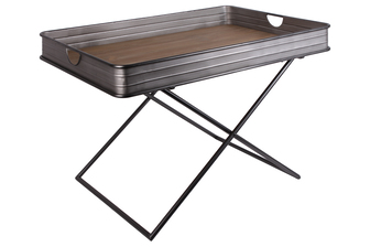 UTC31049 Metal Rectangular Tray Table with Wood Surface and Crossed Legs Galvanized Finish Gray