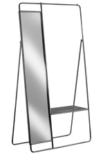 UTC31050 Metal Clothes Rack with Mirror and Pants Rack Coated Finish Gunmetal Gray