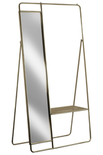 UTC31051 Metal Clothes Rack with Mirror and Pants Rack Metallic Finish Gold