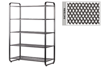 UTC31052 Metal Rectangular Shoe Rack with 5 Pierced Metal Tier in Lattice Diamond Design Shelves Metallic Finish Dark Gray