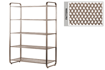 UTC31053 Metal Rectangular Shoe Rack with 5 Pierced Metal Tier in Lattice Diamond Design Shelves Metallic Finish Champagne