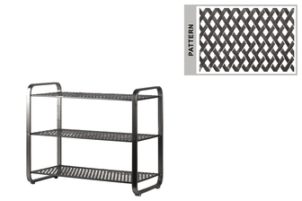UTC31054 Metal Rectangular Shoe Rack with 3 Pierced Metal Tier in Lattice Diamond Design Shelves Metallic Finish Dark Gray
