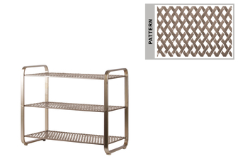 UTC31055 Metal Rectangular Shoe Rack with 3 Pierced Metal Tier in Lattice Diamond Design Shelves Metallic Finish Champagne