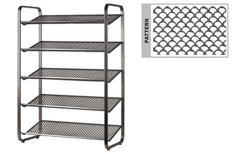 UTC31056 Metal Rectangular Shoe Rack with 5 Pierced Metal Tier in Lattice Half-Circle Design Shelves Metallic Finish Dark Gray