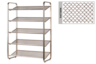 UTC31057 Metal Rectangular Shoe Rack with 5 Pierced Metal Tier in Lattice Half-Circle Design Shelves Metallic Finish Champagne