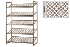 UTC31061 Metal Rectangular Shoe Rack with 5 Pierced Metal Tier in Lattice Oblong Design Shelves Metallic Finish Champagne