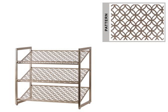 UTC31062 Metal Rectangular Shoe Rack with 3 Pierced Metal Tier in Lattice Oblong Design Shelves Metallic Finish Gunmetal Champagne