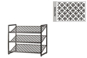 UTC31063 Metal Rectangular Shoe Rack with 3 Pierced Metal Tier in Lattice Oblong Design Shelves Metallic Finish Champagne