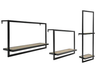 UTC31065 Metal Rectangle Wall Shelf with Wooden Surface and Key Hole Back Hangers Assortment of Three Coated Finish Charcoal