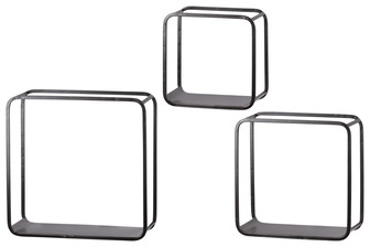 UTC31066 Metal Square Wall Shelf with Flat Bottom Surface, Round Corner Edges and Sawtooth Back Hangers Set of Three Coated Finish Black