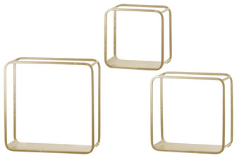 UTC31067 Metal Square Wall Shelf with Flat Bottom Surface, Round Corner Edges and Sawtooth Back Hangers Set of Three Coated Finish Gold
