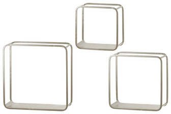 UTC31068 Metal Square Wall Shelf with Flat Bottom Surface, Round Corner Edges and Sawtooth Back Hangers Set of Three Coated Finish Silver