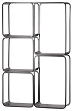 UTC31069 Metal Rectangle Wall Shelf with 5 Slots, Round Corner Edges and Sawtooth Back Hangers Coated Finish Black