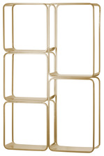 UTC31070 Metal Rectangle Wall Shelf with 5 Slots, Round Corner Edges and Sawtooth Back Hangers Coated Finish Champagne