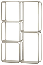 UTC31071 Metal Rectangle Wall Shelf with 5 Slots, Round Corner Edges and Sawtooth Back Hangers Coated Finish Silver