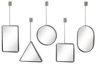UTC31072-AST Metal Wall Mirror with Round Corner Edges, Top Brace and Key Hole Hanger Assortment of Five Coated Finish Silver