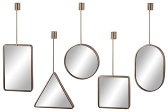 UTC31073-AST Metal Wall Mirror with Round Corner Edges, Top Brace and Key Hole Hanger Assortment of Five Coated Finish Copper