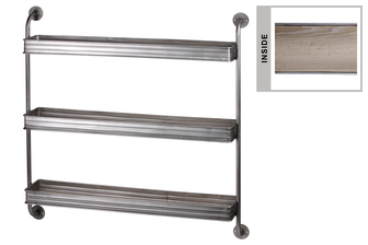 UTC31074 Metal Rectangle Wall Shelf with Iron Pipe Design, 3 Tiers and Wooden Surface Coated Finish Silver