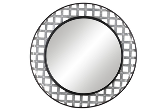 UTC31076 Metal Round Wall Mirror with Box and Black Edges Lattice Cross Design Frame and Key Hole Back Hanger Galvanized Finish Gray