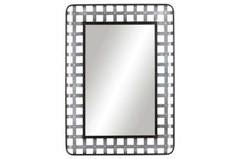 UTC31077 Metal Round Wall Mirror with Black Edges Lattice Cross Design Frame and Key Hole Back Hangers Galvanized Finish Gray