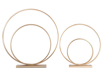 UTC31078 Metal Round Spiral Ring Abstract Sculpture Design on Rectangular Base Set of Two Metallic Finish Gold