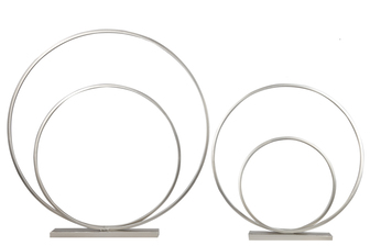 UTC31079 Metal Round Spiral Ring Abstract Sculpture Design on Rectangular Base Set of Two Metallic Finish Silver