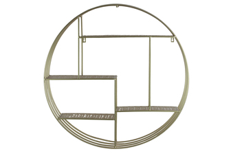 UTC31085 Metal Round Wall Organizer with 4 Criss-cross Surface Design Shelves and Key Hole Back Hangers Metallic Finish Champagne