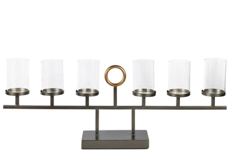 UTC31090 Metal Clustered Candle Holder with Top Golden Ring Handle on Rectangular Base Stand Painted Finish Black