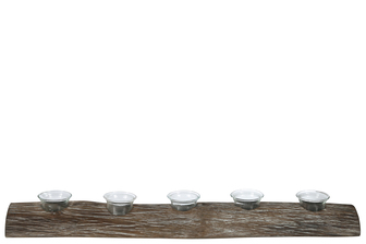 UTC31091 Wood Rectangle Branch Candle Holder with Submerged Glasses LG Natural Finish Brown