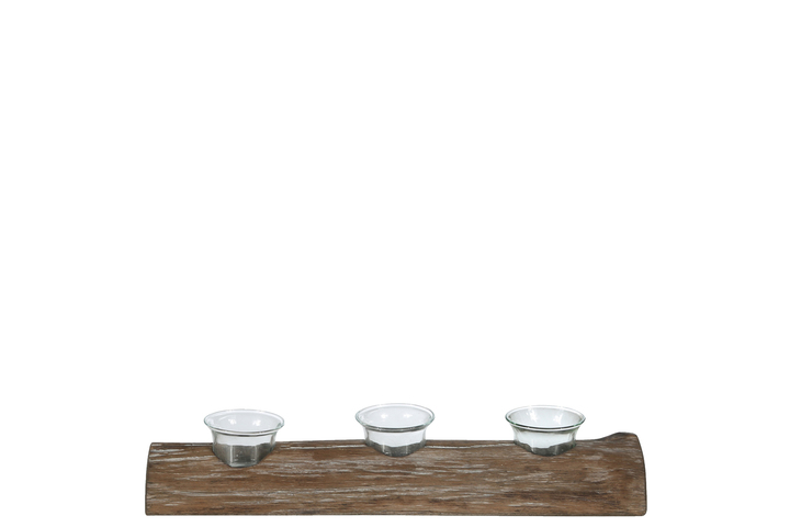 UTC31093 Wood Rectangle Branch Candle Holder with Submerged Glasses SM Natural Finish Brown