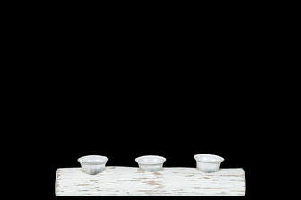 UTC31094 Wood Rectangle Branch Candle Holder with Submerged Glasses SM Distressed Finish White
