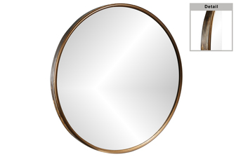 UTC31099 Metal Round Mirror with Back Keyhole Hanger Metallic Finish Gold