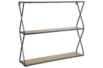 UTC31100 Metal Rectangle Wall Shelf with Side Criss Cross Design, 2 Tier Wood Surface and Keyhole Back Hangers Metallic Finish Gunmetal Gray
