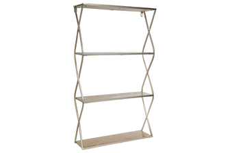 UTC31103 Metal Rectangle Wall Shelf with Side Criss Cross Design, 3 Tier Wood Surface and Keyhole Back Hangers Metallic Finish Champagne